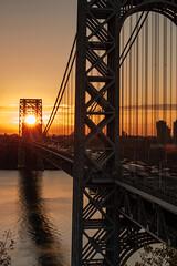 Thread the needle (marksavoy) Tags: sky clouds bridge canon sunrise sun georgewashingtonbridge gwb newyorkcity nyc