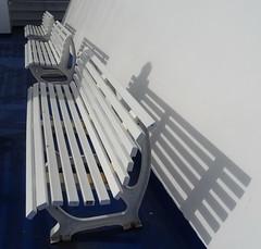 Happy Bench Monday! (peggyhr) Tags: peggyhr benches white shadows blue ferry deck dsc03937ab sydney novascotia canada hbm