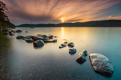 Sun Glow (billydorichards) Tags: tranquil landscape nopeople wideangle lakedistrict water lake serene beach vacation canon6d holiday rocks coast longexposure shore adventure fall scerene travel sunset scenic beautyspot outdoors touristdestination nature canon1635mmf4l waterblur sky southlakelanddistrict england unitedkingdom gb