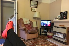 332 2016 activity and waiting, in turns (Margaret Stranks) Tags: 332366 332days 2016 olives bath uk crocs clock tv lamp chair fire