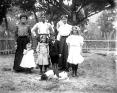Family portrait - Eastpoint (State Library and Archives of Florida) Tags: florida eastpoint families portraits dogs trees fences photobombed