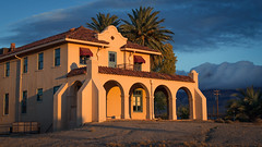 Kelso Depot at Sunset (Generator Photography) Tags: kelsodepot kelso depot empolyees hotel restaurant mojave national preserve california train station sunset sun sunlight orange blue palm trees desert light