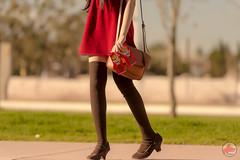 Pocky day photoshoot with @Maysakaali (fano.red) Tags: highheels maysakaali cute nikond4 red goldenhour kawaii skirt durango fashion pockyday pocky dress zettairyouiki sunset fanored longlegs legs bokeh twintails zettai mexican sexy