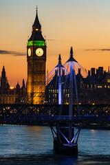 Tower and Bridge (JB_1984) Tags: elizabethtower clocktower bigben palaceofwestminster housesofparliament goldenjubileefootbridge footbridge bridge river thames riverthames sunset evening dusk twilight cityofwestminster london england uk unitedkingdom