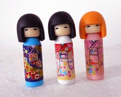 Kokeshi erasers (tengds) Tags: japanesedolls kokeshidolls erasers kokeshierasers blue red pink tengds