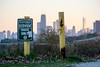 Service Road Skyline (Andy Marfia) Tags: chicago uptown skyline parkdistrict service road sign lakefront lakemichigan sunset d7100 70300mm 1400sec f48 iso320