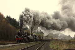 Double departure (feroequineologist) Tags: 76084 76038 76079 railway train steam levisham levishamstation northyorkshiremoorsrailway nymr