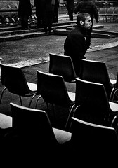 (shoot what you see) Tags: alone man birkenhead wirral mono grain contrast street candid shadows leica m3 50mm xp2 remembrancesunday chairs thoughts thinking