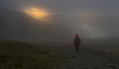 Misty Sunset Descent (Nick Landells) Tags: scafellpike fell walking walker wasdale wastwater lakedistrict descent mist cloud misty sunset tourist route path wow