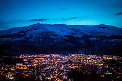 Ulriken mountain in blue hour. Bergen, Norway (Paulius Bruzdeilynas) Tags: bergen norway norge norwegian city ulriken ulrikenmountain bluehour lights evening winter snow sky sony sonyalpha sonya7ii