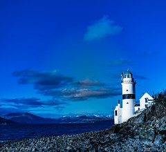 Cloch lighthouse (Rourkeor) Tags: gourock scotland unitedkingdom gb lighthouse rocks sea hills snowhills water blue clouds island sony sonyrx1r rx1r fullframe carlzeiss zeiss sonnar t 35mm greatphotographers