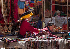 Pisac Market 2 (kate willmer) Tags: people woman hat colours cloths market red pisac peru