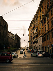 Can't go wrong (lorenzoviolone) Tags: cloudy fujiastia100f goldenhour sunset vsco vscofilm x100s crosswalk junction stranger streetphoto streetphotocolor streetphotography sunsetcolors tracks tram walk:rome=march2016 wires fav10