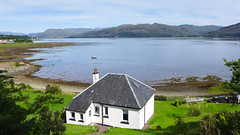 House with a sea view (RIch-ART In PIXELS) Tags: stromemore lochcarron loch scotland unitedkingdom leicadlux6 dlux6 leica house lough seaside seascape shallow hills hillside water lake schotland thehighlands