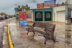 HBM in Conil de la Frontera, Spain (Janos Kertesz) Tags: conildelafrontera spain andalusia seat bench relax rest wood outdoor empty sit wooden nature nobody green