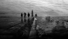 (cara zimmerman) Tags: blackandwhite lighthouse michigan beach water washedaway
