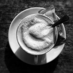 But first coffee... (Dikke Biggie.) Tags: 52in2016 19coffee coffee koffie cupofcoffee kopkoffie spoon lepel cookie koekje closeup detail blackandwhite bw black white zwartwit zw zwart wit monochrome monochroom froth milkfroth schuim melkschuim cappuchino samsung samsunggalaxy samsunggalaxys6 phonephoto phonepicture telefoonfoto samsungsmg920f dgawc