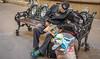 2016 - Mexico - San Luis Potosi - Siesta (Ted's photos - For Me & You) Tags: 2016 cropped mexico nikon nikond750 nikonfx sanluispotosi tedmcgrath tedsphotos tedsphotosmexico vignetting bench seating seated sitting seat sleeping newspaper ballcap backpack streetscene street curb sidewalk slp people