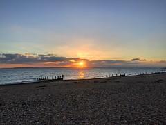 Beach Sunset (Marc Sayce) Tags: hayling island hampshire sunset clouds beach sundown isle wight groynes