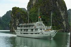 Boat in Halong Bay (steve_whitmarsh) Tags: vietnam asia orient halongbay water sea rocks boat