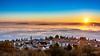 Sunrise sur la mer de nuages au dessus de Clermont-Ferrand (cleostan) Tags: clermontferrand sunrise montagne lever de soleil mer nuages cloud sea clouds france auvergne puydedôme pierre carré la baraque nikon nikkor hiver