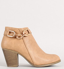 "chain strap chunky heel ankle bootie 100 taupe • <a style=""font-size:0.8em;"" href=""http://www.flickr.com/photos/64360322@N06/14938847743/"" target=""_blank"">View on Flickr</a>"