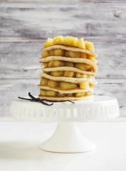 Pancakes with apple sauce (Anjelagr) Tags: morning food hot apple cake closeup fruit breakfast cakestand table dessert lunch cuisine golden wooden sweet background cook tasty nobody fresh stack delicious homemade pile baker