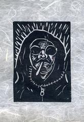 Jerry (Gila Mosaics n'stuff) Tags: portrait art artist cigarette portraitparty linoleumcut jkpp