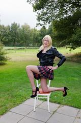 Pleated plaid mini-skirt. (sabine57) Tags: drag tv highheels cd crossdressing tgirl transgender tranny transvestite miniskirt crossdresser crossdress leatherjacket nylons travestie transvestism seamedstockings