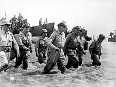 Field Marshal Douglas MacArthur and aides wading ashore on Leyte (Presidential Museum and Library) Tags: worldwarii leytelanding