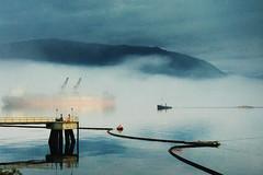 Burrard Inlet (. Jianwei .) Tags: blue mist mountain color fog vancouver landscape mood burrardinlet kemily nex6