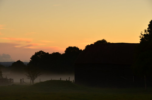 Sunset behind Obriss barn
