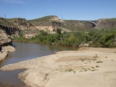 Burro Creek and bridges (Distraction Limited) Tags: arizona bridges burrocreek us93 burrocreekbridge burrocreekcampground riverratzreuniontrip2014 burrocreekbridges