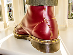 DM Capper. Oxblood red. (CWhatPhotos) Tags: pictures original red leather yellow canon that cherry photography boot foot one foto with hole image boots artistic pics picture 8 pic images holes wear have photographs photograph fotos stitching sole doc marten which soles dm eight docs contain compact bouncing airwair s90 docmartens martens dms oxblood capper bouncingsoles cappers cwhatphotos dmcapper
