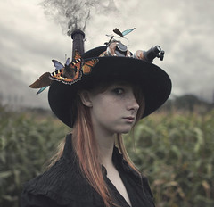 The Alchemist (StephaniePearl ) Tags: chimney portrait ginger goggles butterflies surreal steam redhead fantasy squareformat freckles conceptual dreamcatcher steampunk
