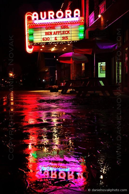 Aurora Theatre, Wet Sidewalk Reflection, East Aurora, New York (NY) (DTB_4733)