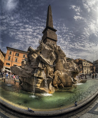 Fountain of the Four Rivers, Rome (neilalderney123) Tags: sculpture rome water fountain wideangle samyang fisheeye neilhoward