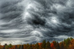 Thunderstorm Structure Central/East New Brunswick, Canada (nbstormchaser) Tags: autumn sky storm nature weather clouds scenery foliage newbrunswick thunderstorm cloudporn shelfcloud rainshaft