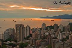 City beside the ocean (Ke Imhoff) Tags: city sunset sea sky sun canada vancouver town nikon meer downtown sonnenuntergang may mai stadt sonne kanada 2014 d5100