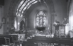 H00344 Hollington Church in the Wood, St. Leonards (interior) c.1905 (East Sussex Libraries Historical Photos) Tags: church interior library altar aisle font hastings pews pulpit lectern stainedglasswindow 1905 broderick glassplatenegative hollington hollingtonchurchinthewood