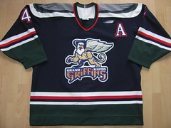 Grand Rapids Griffins 1998 - 1999 Game Worn Jersey (kirusgamewornjerseys) Tags: game hockey darren rumble icehockey grand rapids worn jersey eishockey griffins ihl