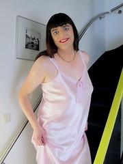 Silky smooth (Paula Satijn) Tags: pink sexy girl shiny soft silk tgirl transvestite slip satin gurl silky nightgown nightdress nightie