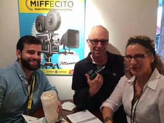 Photographer Vince Rives with filmmaker Richard Fendelman  and Tatiana Chlocchetti at the Miami international film Festival's Tower theater