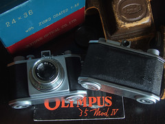 2 different Olympus 35 IVa with original hard case & Paper box-7940 (THE OLYMPUS CAMERAS COLLECTOR) Tags: camera original film vintage paper box hard olympus case 35 iva
