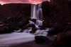 Öxarárfoss (Danniorn) Tags: sunset red sky orange cold water beautiful night dark fire photography evening waterfall iceland cool þingvellir icelandic purble öxarárfoss danniorn