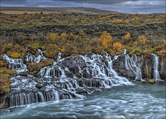 Hraunfossar 1 (Jen St. Louis) Tags: autumn water river landscape lava waterfall iceland waterfalls hdr hraunfossar reykholt nikon1685mm nikond7000 jenstlouisphotography wwwjenstlouisphotographycom