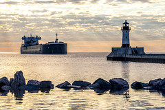 Morning Approach (Skeeter Photo) Tags: reflection feet water sunrise foot harbor pier greatlakes ft shipping duluth lakesuperior 1000 entry americanintegrity