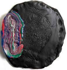 The Nights Leavings (Daniel Wiener) Tags: color art face mask contemporaryart onthewall contemporarysculpture wallrelief 2013 facessculpture apoxiesculpt