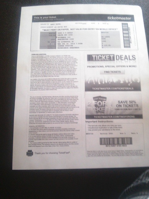 Ticket to the Liverpool Game!!!