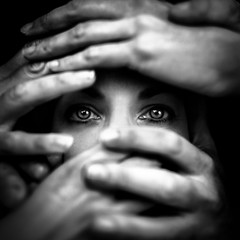 (Benoit Courti) Tags: woman light hands silence eyes blackandwhite deep black courti